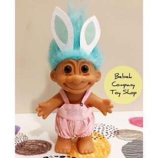 1980s VTG troll doll trolls 兔耳朵 吊帶褲 醜娃 巨魔娃娃 幸運小子 古董玩具 絕版玩具