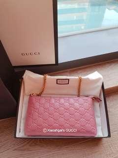 🌟RECEIPT🌟🌞AUCTION (Retail $1800+)▶️MY FOLLOWERS EXCLUSIVE!🌞❌Non Followers❌👜AUTHENTIC BRAND NEW👜GUCCI Baby Pink Wrislet/ Porchette Bag Wallet (Money, 6 card slots, hp, keys)💋No Pet No Smoker CLEAN hse💋