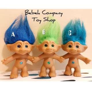 中型 1980 VTG Troll Doll Gem trolls 醜娃 巨魔娃娃 幸運小子 寶石系列 寶藍 草綠 藍綠