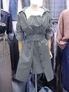 Brand New Korean Korean Imported Stripe Shirt Dress