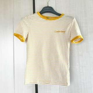 Yellow stripy t-shirt 黃色tee