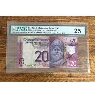 Scotland 20£ Rare paper notes W/JN 1000000 number