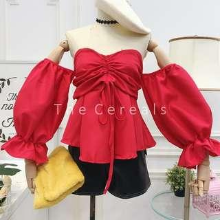 TC3167 Shoulder Off Bubble Sleeve Top (Red,White,Black)