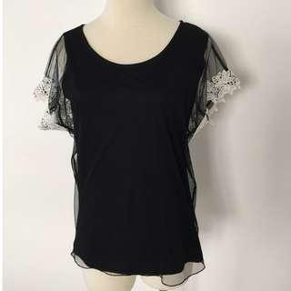*New* Black Top with Lace Sleeves