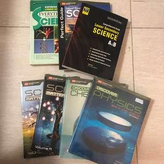 Lower sec Science Textbooks and combined physics and chemistry textbooks
