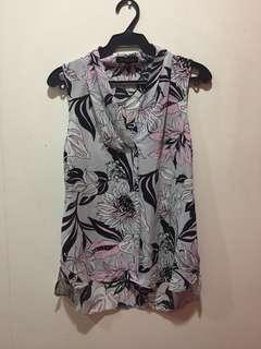 Pink and Gray Floral Sleeveless Blouse