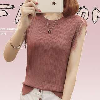 Rose Red Knitted Fringe Top