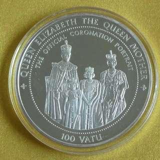 Ultra rare 100 Vatu massive sterling silver commemorative coin 1995 Anglophile collector item