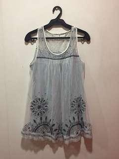 Gray Floral Sleeveless Blouse