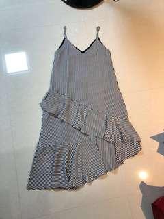 The Editor's Market TEM Grey Stripes Ruffles Dress