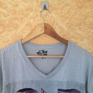Artwork Gray V-neck Shirt