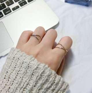 🚚 全新雙環 交叉戒指