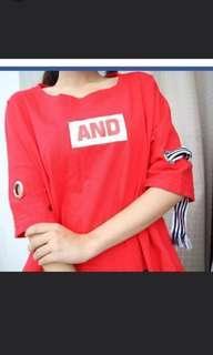 Oversized Red Korean crop top or shirt