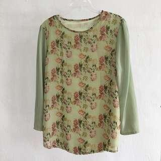 Floral Blouse Light Green