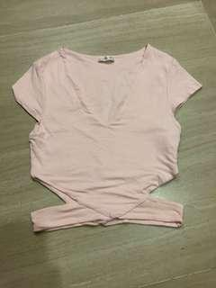 Cotton On Pink Side Cut Up Crop Top