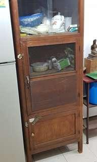 vintage chinese cupboard fridge wooden with wire mesh