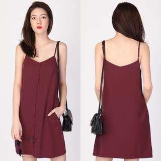 Aforarcade AFA Emma Button Slip Dress in Wine