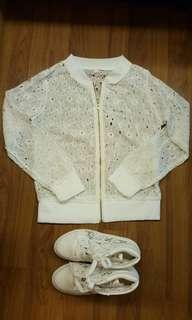 White Lace Cardigan and Lacey White Sneakers