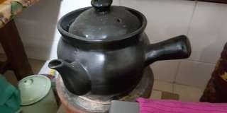 vintage charcoal slow cooker claypot full set