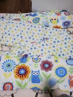 owl design - baby cots bedding set