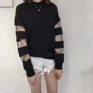 [New] black top黑色網紗 拼接上衣