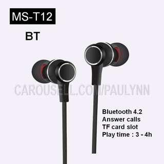 MS-T12 Bluetooth Earphone Supports TF Card MS T12