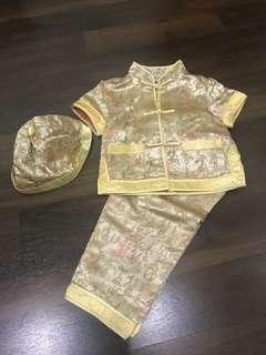 Preloved cheongsam for boy ( 12-18 months ). Gold color.  #momjualan