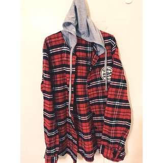🚚 學院風~毛料格紋襯衫 可當外套穿唷 兩穿 青春顯年輕單品唷❤️😘