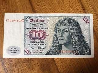 Germany 1980 10 Mark note Original Paper