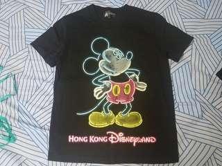 香港迪士尼 米奇 夜光 mickey t-shirt tee t恤 disneyland