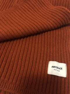 韓國 橘紅羊毛壓紋圍巾