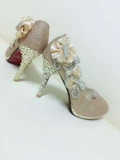 百年好合 結婚禮鞋 女子華麗粉金花邊造型高跟鞋 近全新