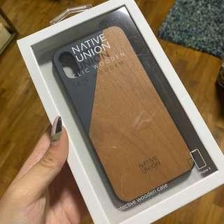 Native union blue iPhone X wood case