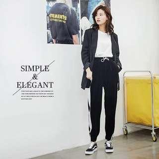 🚚 韓版復古舒適顯瘦抽繩女士休閒運動褲(灰色M號)