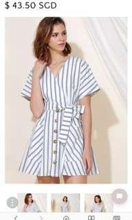 Andwelldressed - PERPETUAL STRIPED FLARE DRESS (NAVY)  Size S