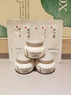 Sample全新一套9件韓國專櫃直送雪花秀滋晶美白面霜Sulwhasoo Snowise Brightening Cream 5ml x 3 and 1ml x 6