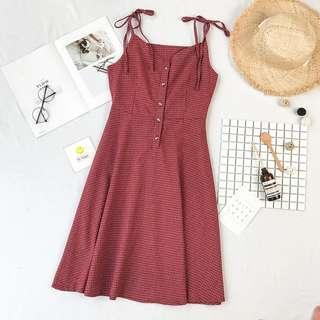 •INSTOCK• V NECK RED Checkered SLEEVELESS Dress