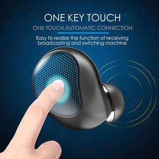 TWS運動藍牙耳機5.0觸摸無線雙耳降燥帶充電寶 Mini Wireless Earbuds, Bluetooth 5.0 in Ear Hands-Free Earpiece Stereo Sound with Double HD Microphones and Noise Cancellation for Business/Driving/Office