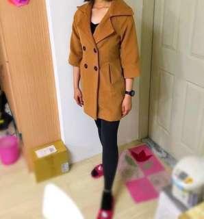 毛呢大衣 風衣外套 長版排扣大衣