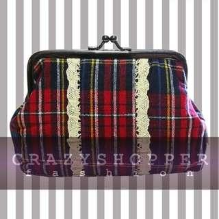 出口貨尾 100%NEW紅色格仔零錢包或化妝包  DP.Red Plaid Coin Purse / Cosmetic Pouch
