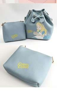 Disney Alice bag 迪士尼愛麗絲水桶包 套裝