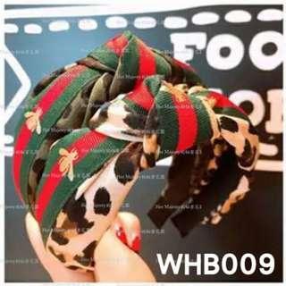【Her Majesty的秘密花園】初秋豹紋紅綠織帶小蜜蜂豹纹寬版扭結髮圈髮箍髮飾WHB009