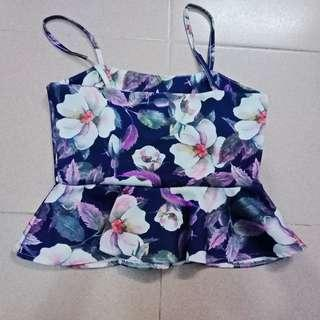Floral top ( flare , thin straps/strapless , purple and pink , peplum top)