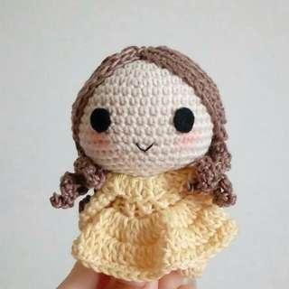 Princess Belle Disney boneka rajut bagcharm gantungan tas style fashion ootd handmade