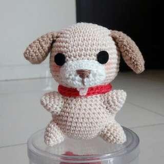 Anjing doggy dog boneka rajut bagcharm gantungan tas style fashion handmade