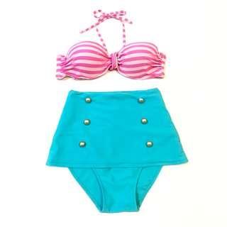 2 Pieces High Waist Pink & Baby Blue Bikini Swimming Suit Swimwear Beach Summer