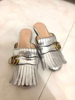 Silver GG Mules 38