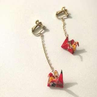 Red Origami Clip Earrings
