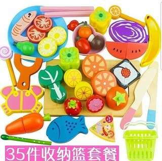 35pcs Wooden Fruits Vegetables Seafood Meat Magnetic Educational Cutting Cooking Toy Set