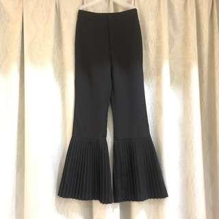 High Waist Slack Wide Leg Pleated Black Palazzo Pant